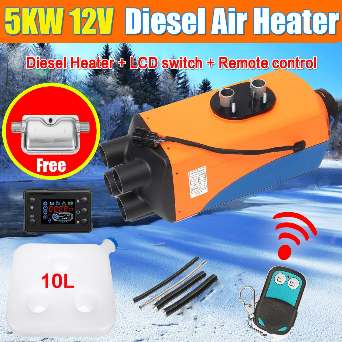 KROAK Car Heater 12V 5KW Air Diesels Heater Parking Heater With LCD Remote Control for RV Motorhome Trailer Trucks Boats