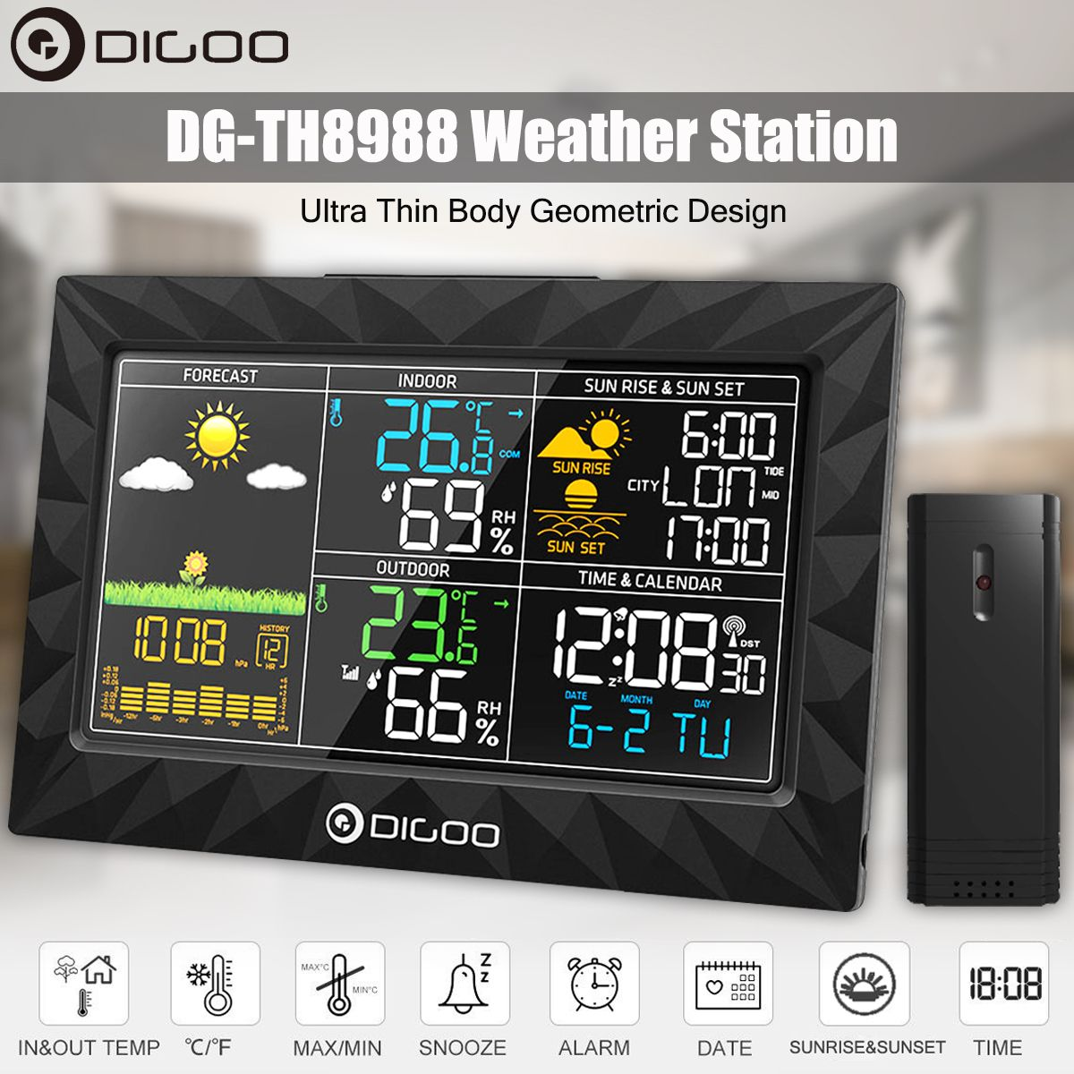 Weather Station Temperature Humidity Wireless Colorful Sunrise Sunset indoor outdoor Thermometer Hygrometer Alarm Clock