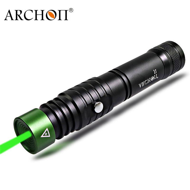 ARCHON J1 100m pointeur Laser de plongée pointeurs Laser vert torche puissante Led lampe de poche Laser tactique 18650 batterie en option
