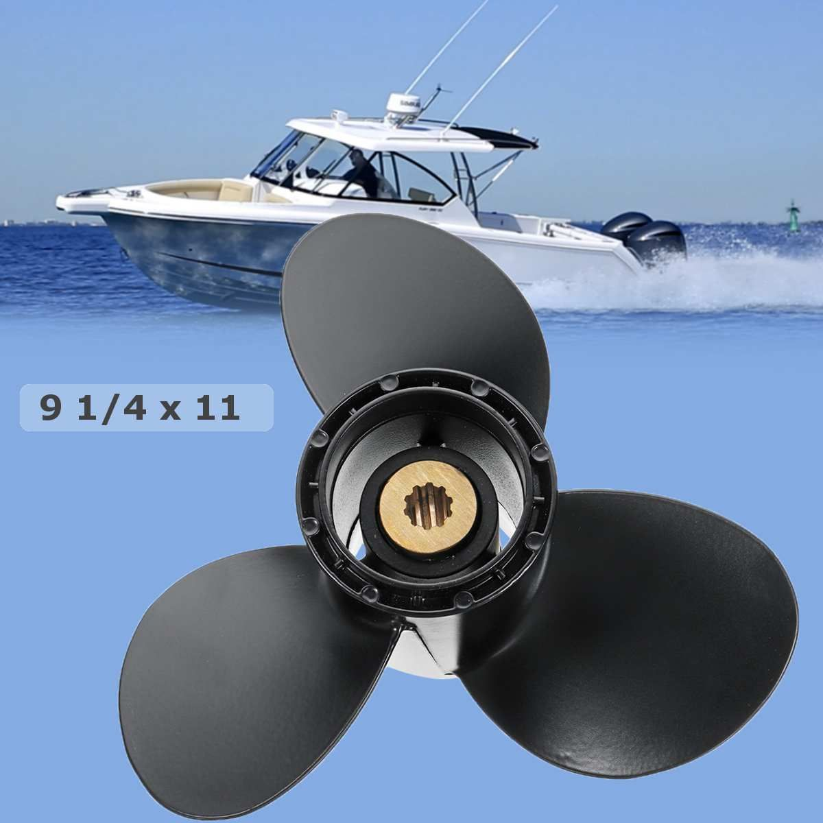 9 1/4 x 11 Aluminum Boat Outboard Propeller for Suzuki 9.9-15HP 58100-93743-019 Aluminium Alloy Black 3 Blades 10 Spline Tooth