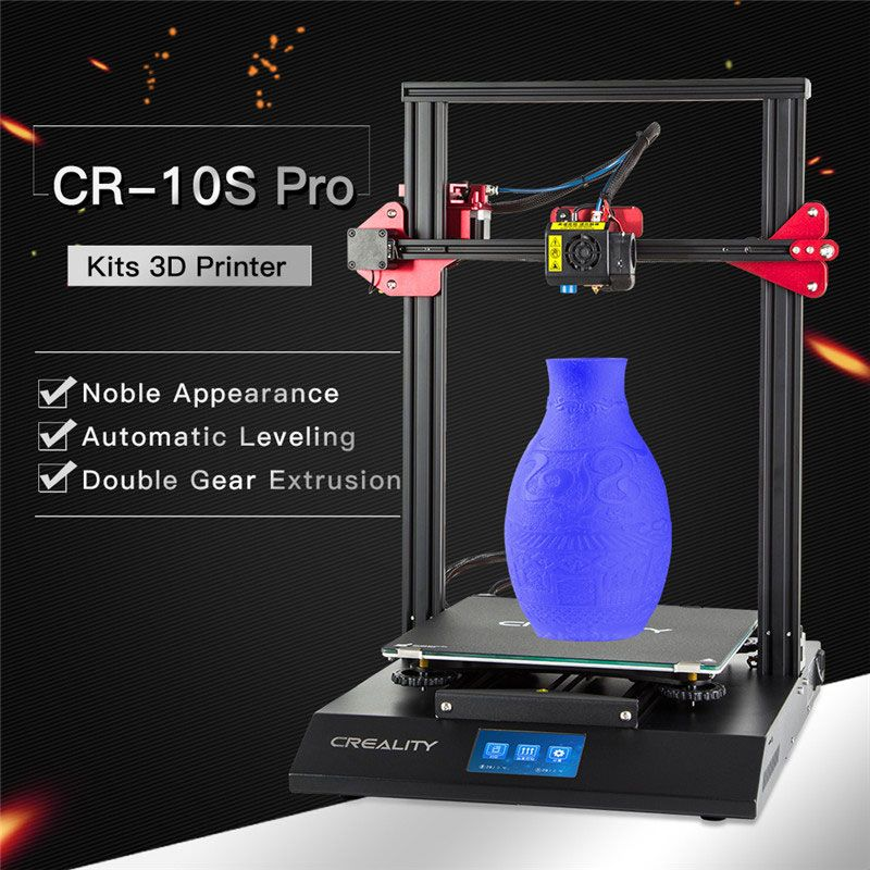 CREALITY 3D Auto Leveling CR-10S Pro Printer Touch LCD Double Extrusion Resume Printing Filament Detection Funtion