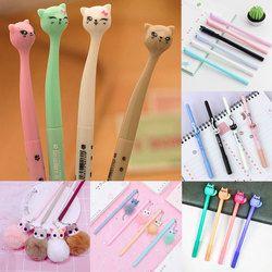 0,5 мм Kawaii пластиковая гелевая ручка для творчества мультяшная кошка нейтральные ручки для школы для письма для офиса принадлежности ручка м...