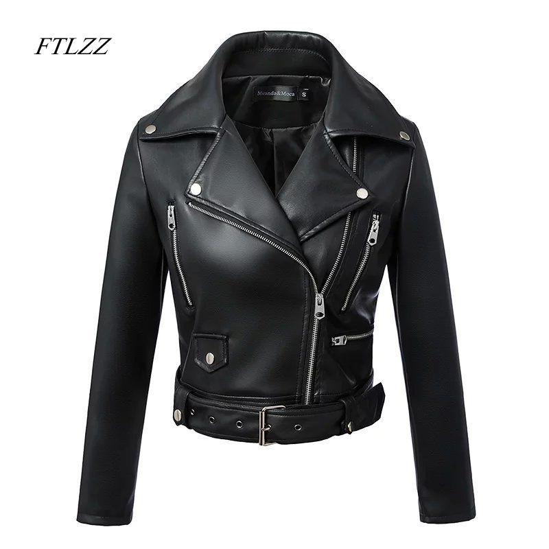 FTLZZ 2019 New Fashion Women Autumn Winter Black Faux Leather Jackets Zipper Basic Coat Turn-down Collar Biker Jacket With Blet