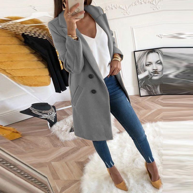 Femmes grande taille XXXL laine mélanges pardessus 2019 automne hiver à manches longues décontracté surdimensionné veste zippée manteau