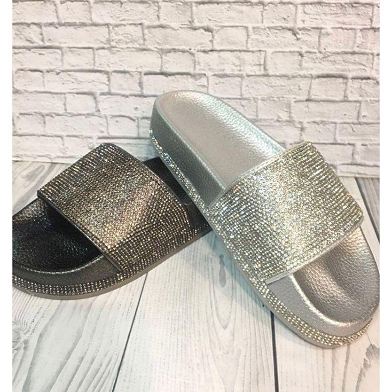 Women Flip Flops Fashion Women Slipper Female Crystal Flat Summer Shoes Rhinestone Thick Bottom Bling Beach Slides
