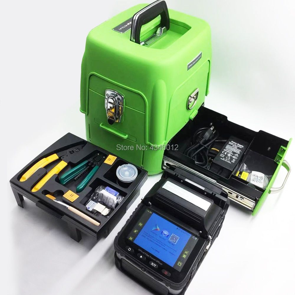 AI-8 Automatic Optical Fiber Fusion Splicer Intelligent/FTTH Fiber Optic Welding Splicing Machine/Fiber Fusion kit/Green toolbox