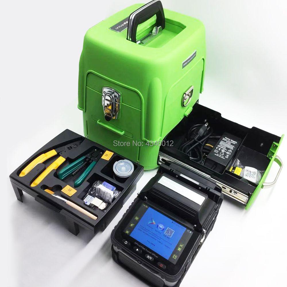 AI-8 Automatic Optical Fiber Fusion Splicer Intelligent/FTTH Fiber Optic Welding Splicing Machine/Fiber Fusion kit/Green toolbox