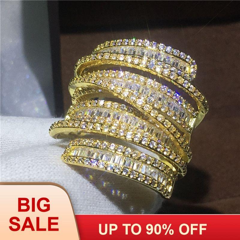 Luxus Big ring Gelb Gold Gefüllt, Verlobung, hochzeit band ringe für frauen T form AAAAA zirkon kristall 925 silber Bijoux geschenk
