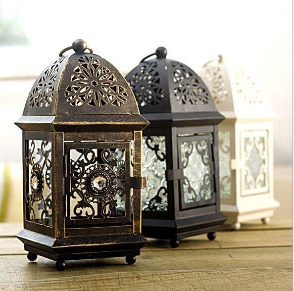 Carré en métal européen tenture Votive bougeoir de mariage chandelier suspendu lanterne maison mariage décoratif bougie Lante