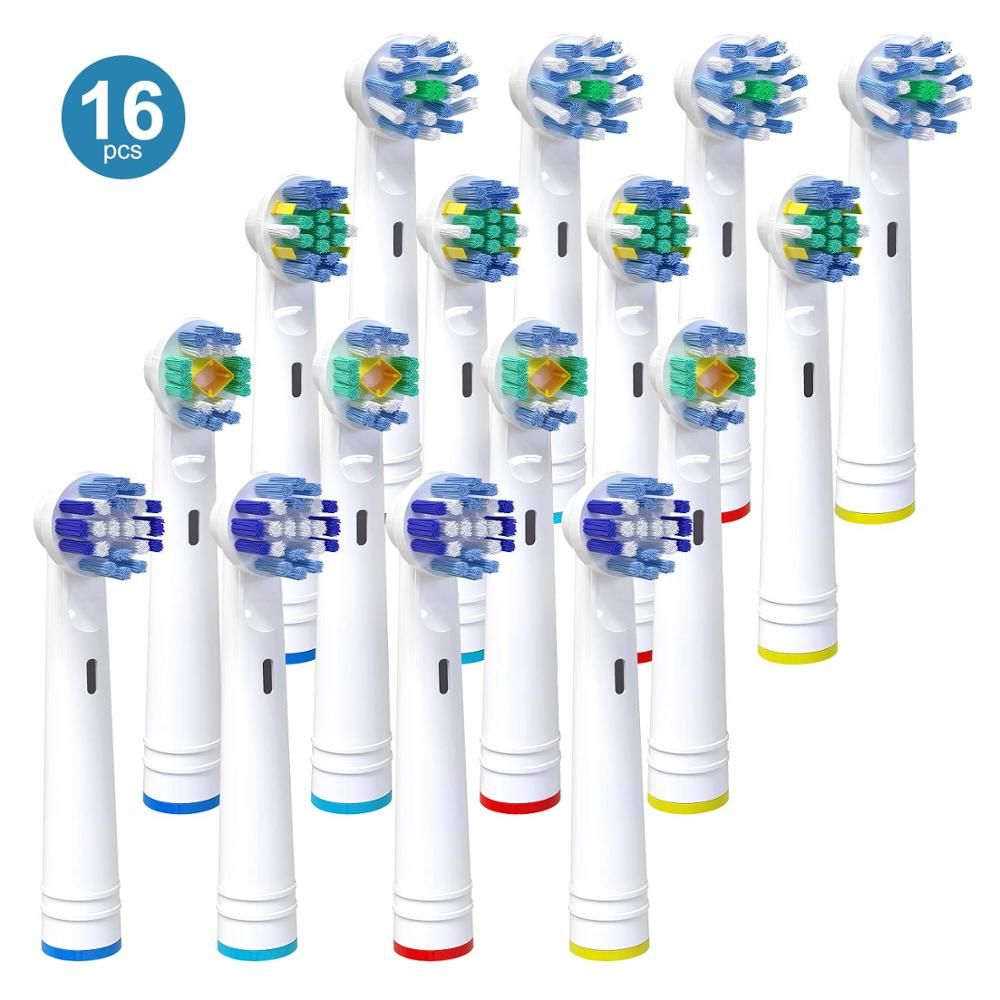 16X For Braun Oral B Vitality Replacement Electric Toothbrush Heads,Precision Clean,Floss Action,Cross Action & 4 3D White