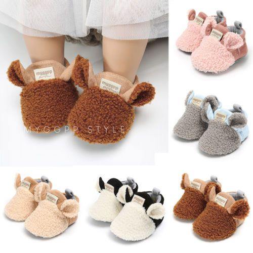 Newborn Baby Boys Girl Fur Cotton Soft Sole Shoes First Walkers Infantil Toddler Prewlkers Trainers Mocassins Thermal Shoes