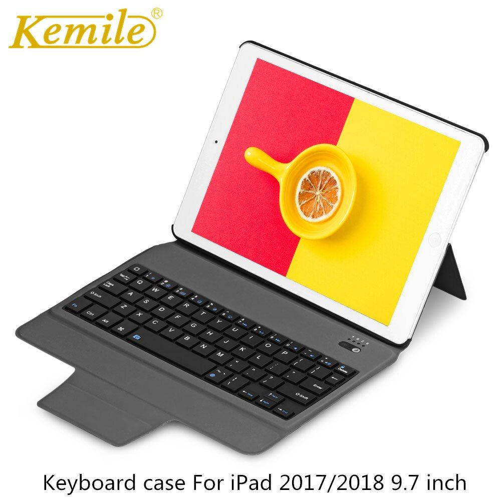 Bluetooth <font><b>Keyboard</b></font> Case For iPad 2018 9.7 W Ultra Slim Stand Leather Cover For iPad 2017, Pro 9.7 Air 1/2 tablet Keypad klavye