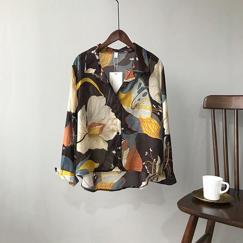 Mooirue printemps 2019 femme petit ami en mousseline de soie chemise Blouse impression coréenne restauration fleur col rabattu Blusas dame Boho hauts