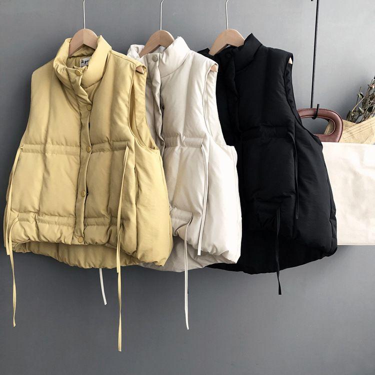 Mooirue Winter Autumn Parka Coat Vest Female Restore Pulling Rope Sleeveless Cotton Turtleneck Printing New Arrivals Coat