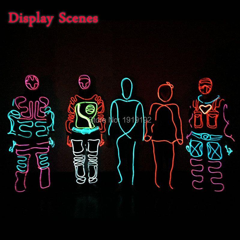 LED Costumes lumineux Costumes lumineux lumineux à capuchon hommes EL vêtements froid bande danse de mode Talent Show lumière LED vêtements