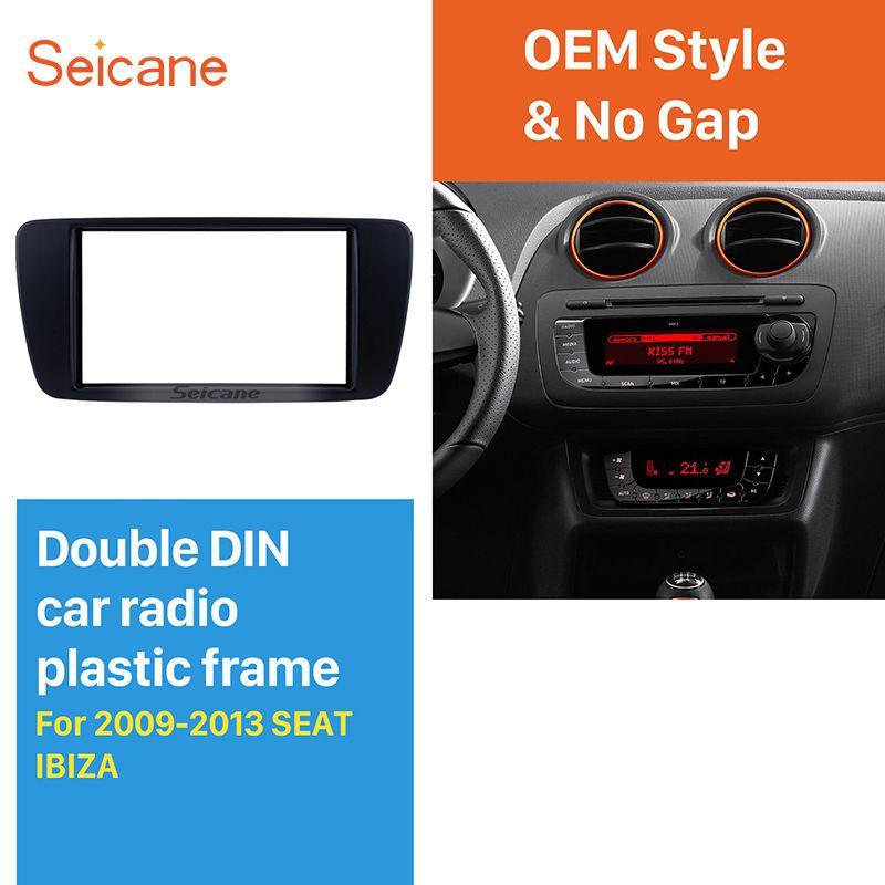 Seicane Doppel Din Fahrzeug-montiert Radio Fascia für 2009-2013 SITZ IBIZA Dash DVD Player Gesicht Platte Trim panel Installation Kit