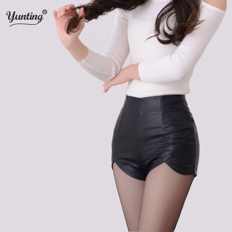 2019 Nouvelle Mode D'été de Femmes Sexy Noir Rouge PU Taille Haute Short Vintage Mince Fente Haute qualité taille S-2XL short en cuir