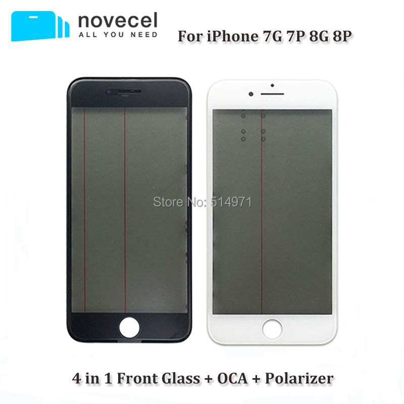 Novecel 4 in 1 A+ Cold Press Front Screen Outer Glass Lens with Frame OCA Polarizer for iPhone 7G 8G 7 8 PLUS Replacement