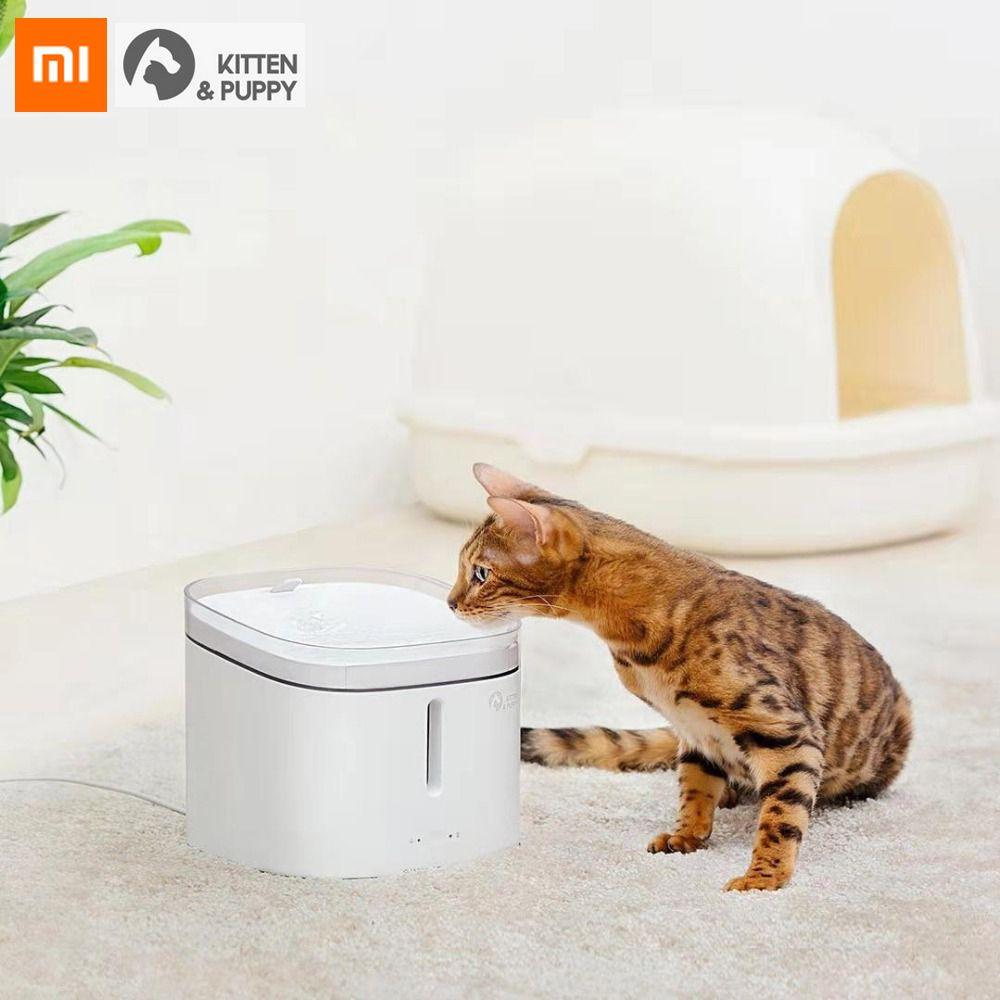 Original Xiaomi Kätzchen Welpen Haustier Wasser Spender Intelligente Hund Katze Elektrische Trinken Schüssel Brunnen Automatische Katze Leben Wasser 2l