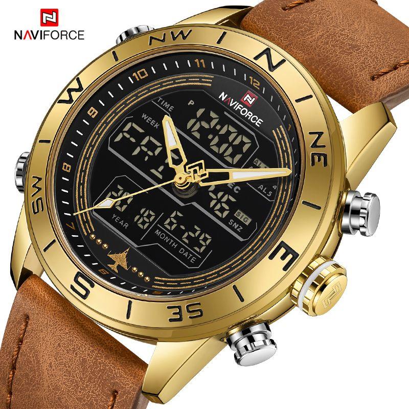 Luxus Marke Männer NAVIFORCE 9144 Gold Armee Military Watch Led Digital Leder Sport Uhren Quarz Herren Uhr Relogio Masculino