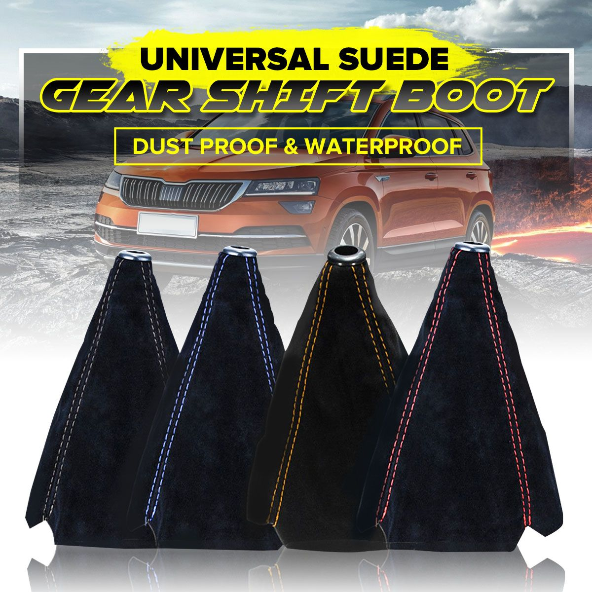 Universal Car Gear Shift Collars Covers Suede PU Leather Gear Stick Shift Shifter Knob Boot Gaiter Cover