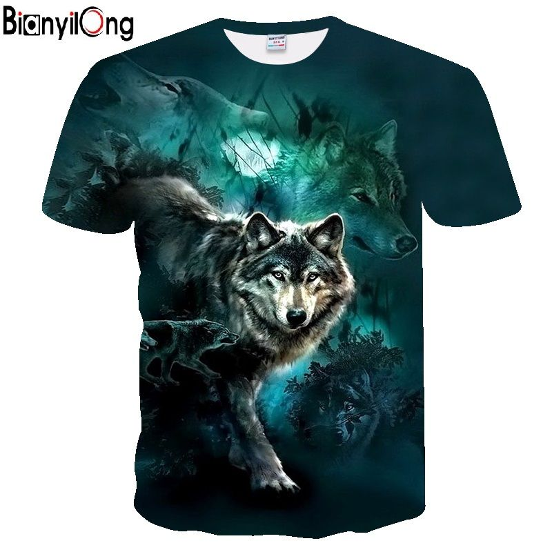 2019 Men's New Summer Personalized T-Shirt Wolf Print T-Shirt 3D Men's T-Shirt Novelty Animal Tops T-Shirt Men's Short Sleeve