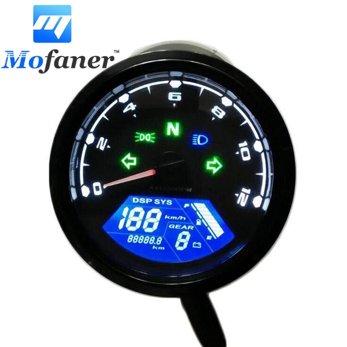 Universal Digital Motorcycle Speed Meter Odometer Tachometer Gauge Dual Speed LCD Screen for 1-4 Cylinders
