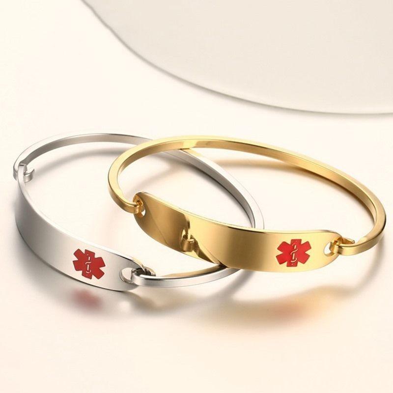 Bracelet d'identification d'alerte médicale en acier inoxydable sans gravure Vnox Bracelet personnalisé pour hommes femmes couleur argent/or 2.36 /2.55