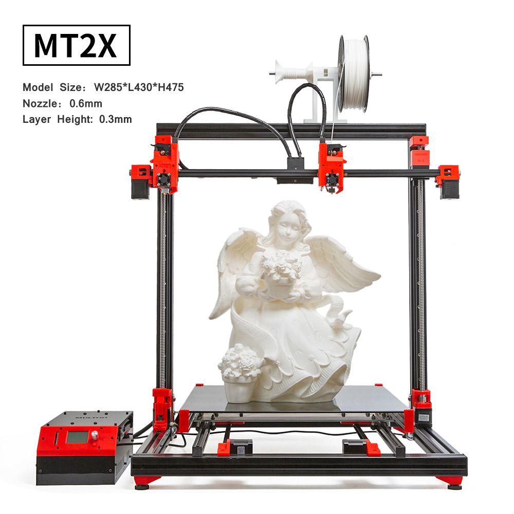 MULTOO 3D Drucker MT2X Große Druck Größe Hohe Qualität Präzision Ball schraube Preciser Einzigen Dual 500*500*500 hohe temperatur