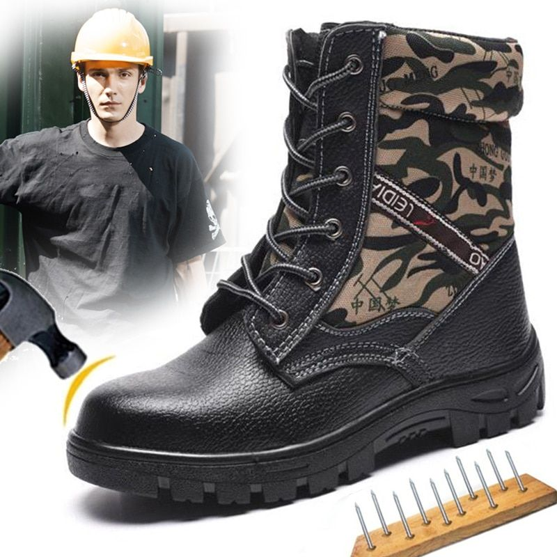 Big Size Eur40-46 Bulletproof Anti-smashing Steel Toe AtreGo Work Safety Shoes Men Snow Boots Fur-lined Boots Ankle Winter Shoes