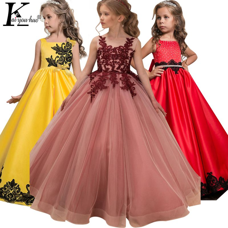 Girls Dress Easter Costume Kids Dresses For Girls Wedding Dress Teenager Princess Dress Vestidos 5 6 7 8 9 10 11 12 13 14 Years