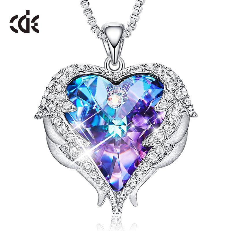 CDE femmes collier pendentif orné de cristaux de Swarovski coeur collier saint valentin cadeau ailes d'ange femme bijoux
