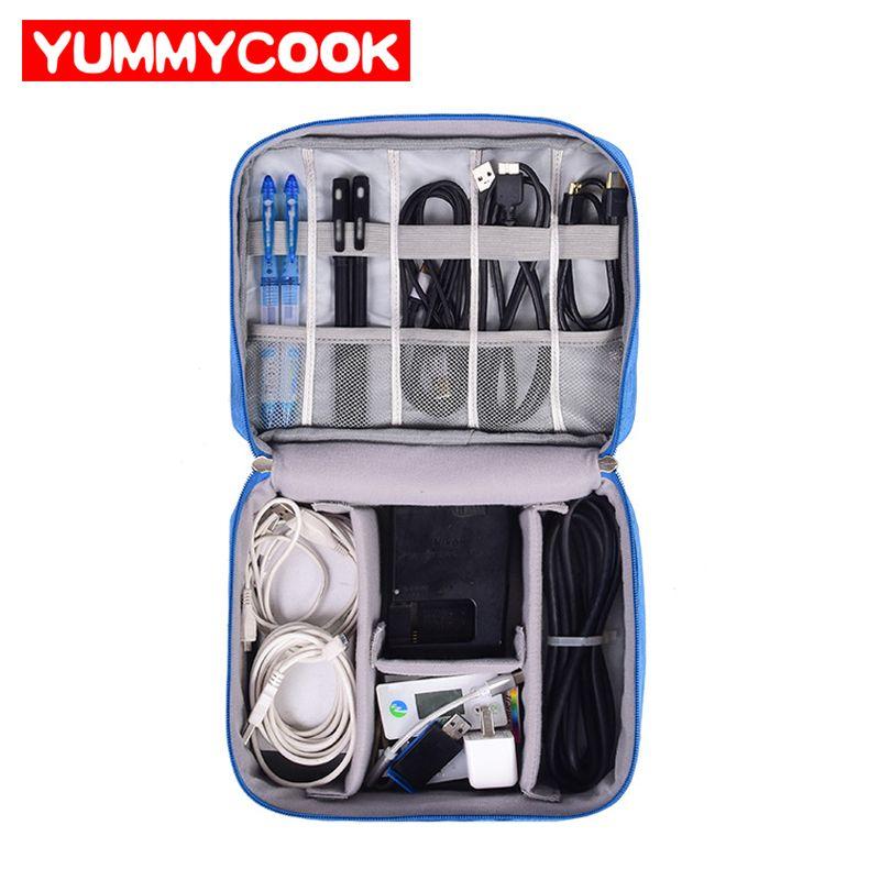 Voyage sac de câble Portable Numérique USB Gadget Organisateur Chargeur Fils Cosmétique pochette de rangement à fermeture à glissière kit Cas Accessoires Fournitures