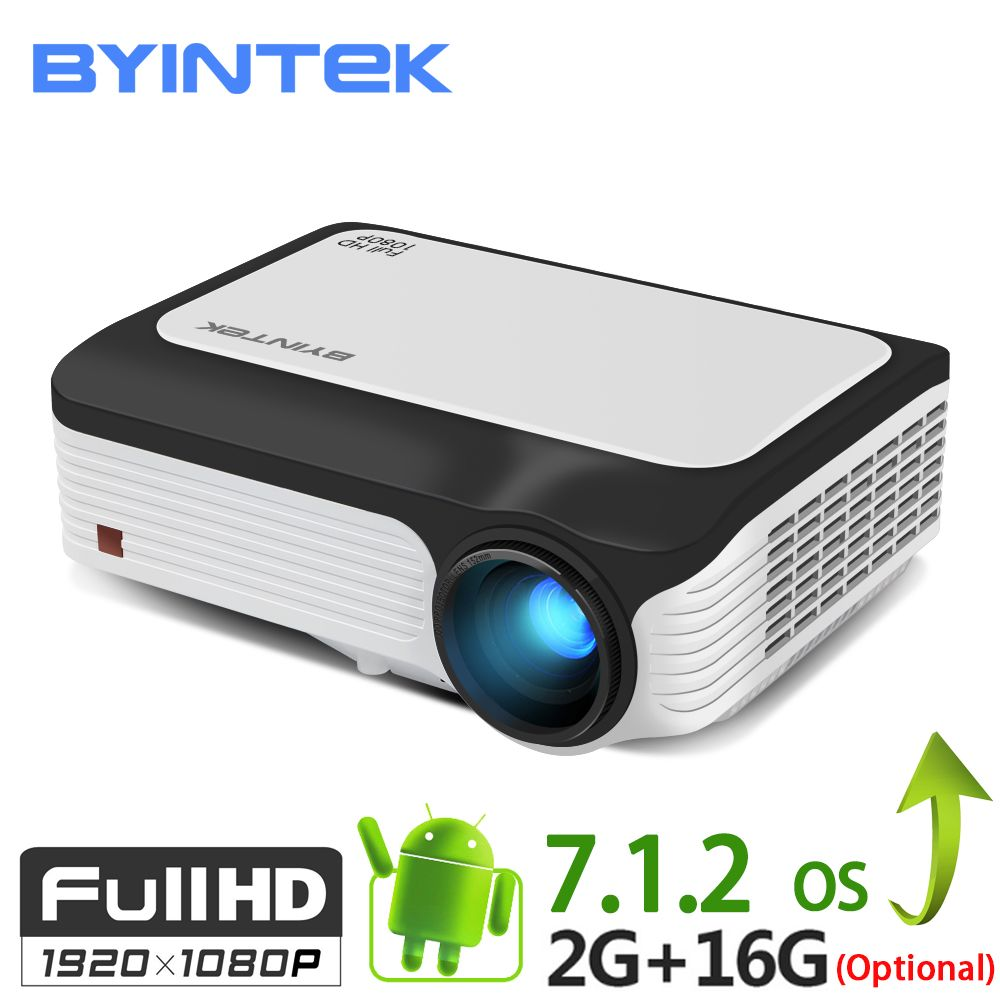 BYINTEK M1080 Smart Android 7.1 (2GB + 16 GB) wifi VOLLE HD 1080 P 1920x1080 Tragbare Video LED Home Mini Projektor Für Netflix