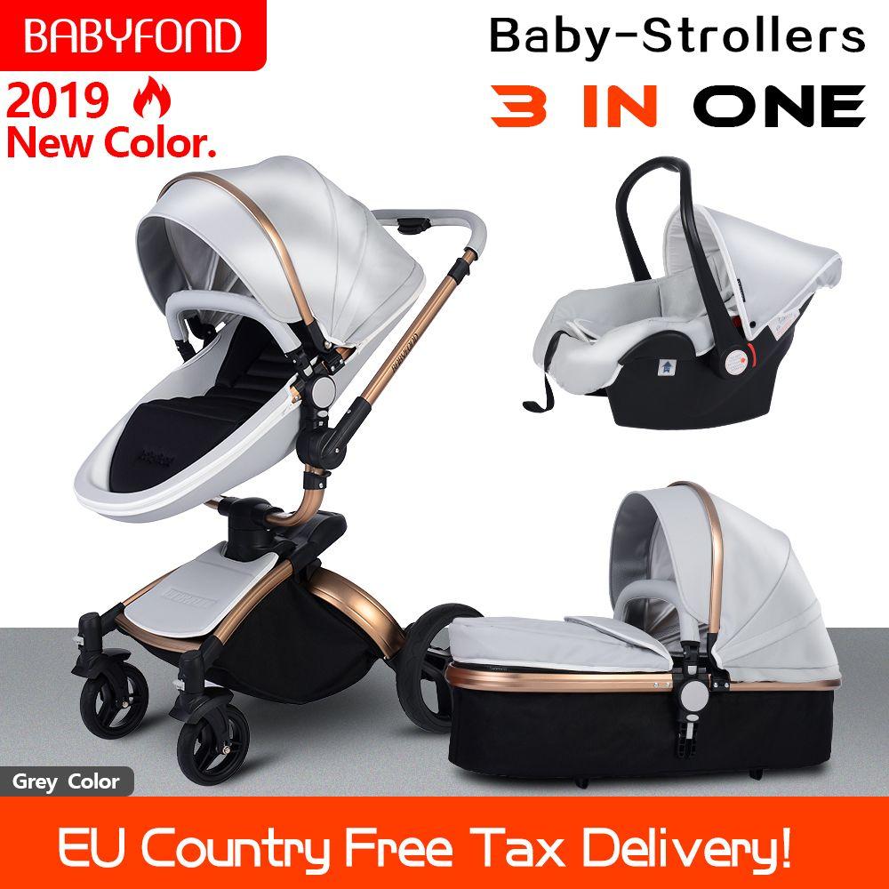 2019 PU Leder gold rahmen weiß baby kinderwagen 360 360-grad-drehung hohe landschaft 3in1 kinderwagen SUV ebene suspension kostenloser geschenke