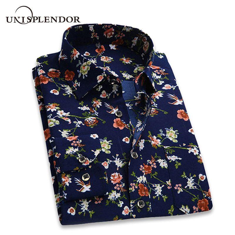 2019 rétro Floral imprimé homme chemises décontractées mode classique hommes robe chemise respirant hommes à manches longues marque vêtements YN552
