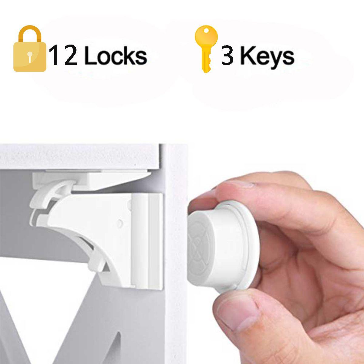 12 serrures + 3 clés magnétiques enfants serrure 15 en 1 bébé sécurité bébé Protection armoire porte serrure enfants tiroir casier Invisible serrures