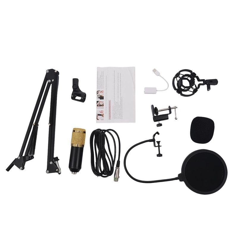 BM800 Kit micro à condensateur Studio Suspension perche bras ciseaux carte son