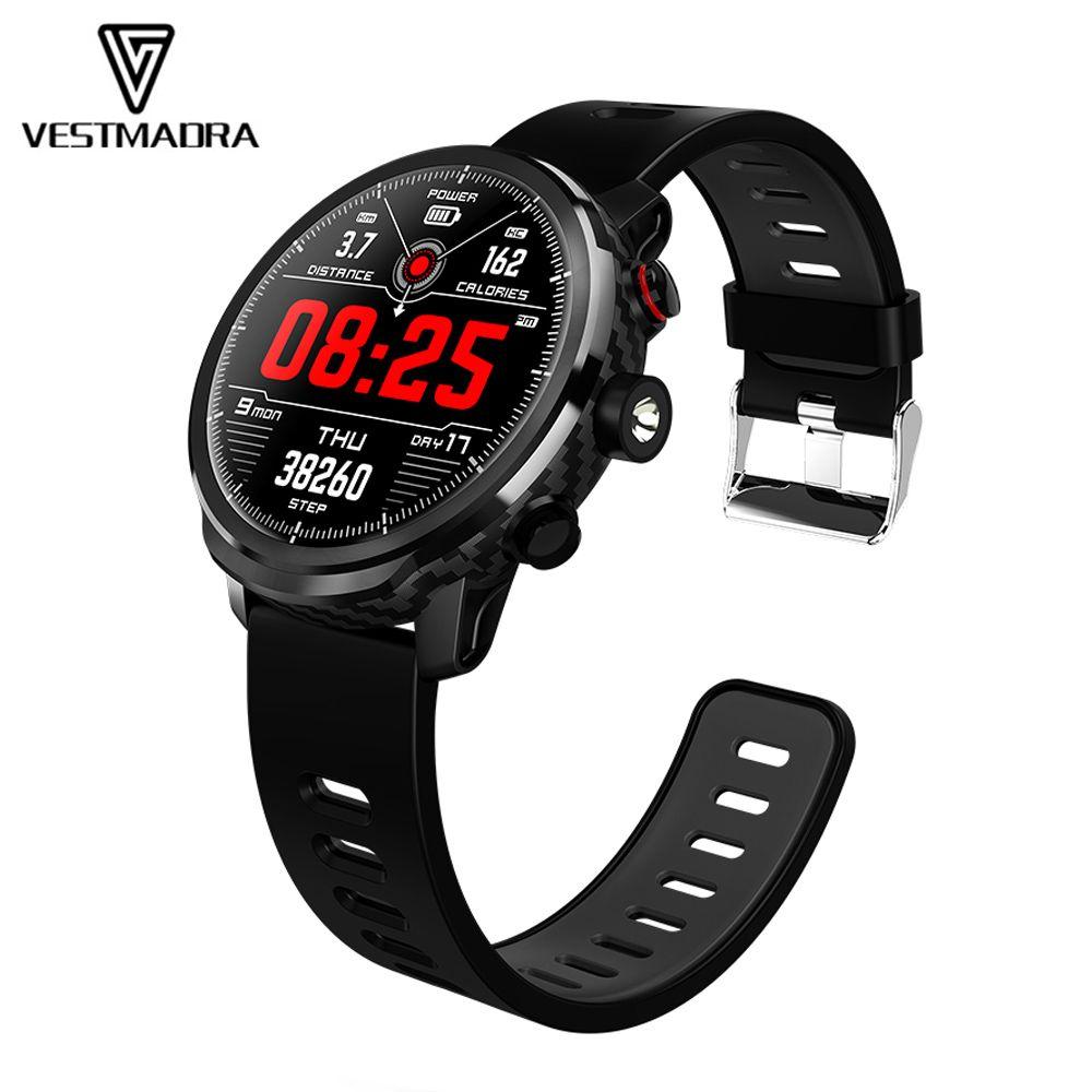 VESTMADRA L5 Smart Uhr Männer Wasserdicht Herz Rate Überwachung Standby 100 Tage Mehrere Sport Modus Wetter Prognose Smartwatch