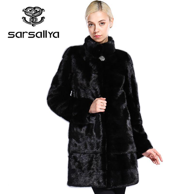 SARSALLYA echtpelz stil mode pelz mantel, Echtes Leder, Mandarin Kragen, gute qualität nerz pelzmantel, frauen natürliche schwarz mäntel