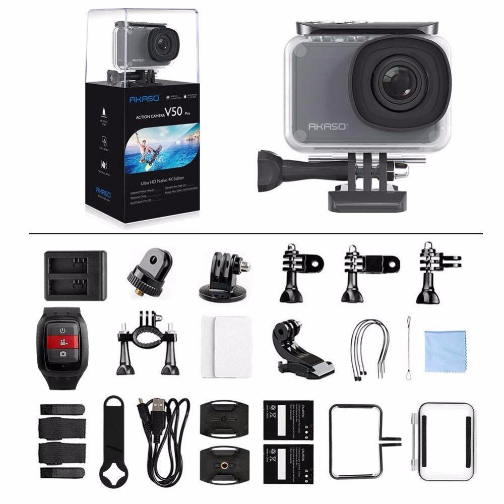 AKASO V50 Pro Native 4K/30fps 20MP WiFi Digital Action Camera EIS 30M waterproof Sport go Helmet pro sport cam+Gift Selfie Stick