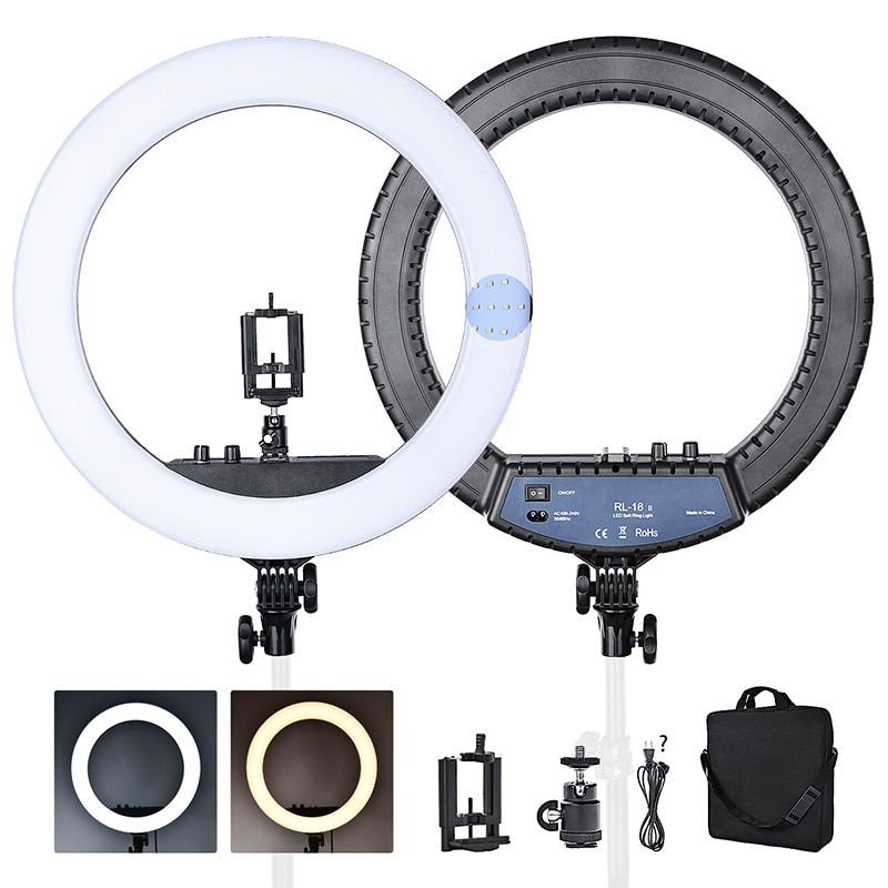 FOSOTO RL-18II Bi-color 3200-5600K 512 Leds Dimmable Photography light Makeup Ring Light Lamp For Camera Photo Studio Phone