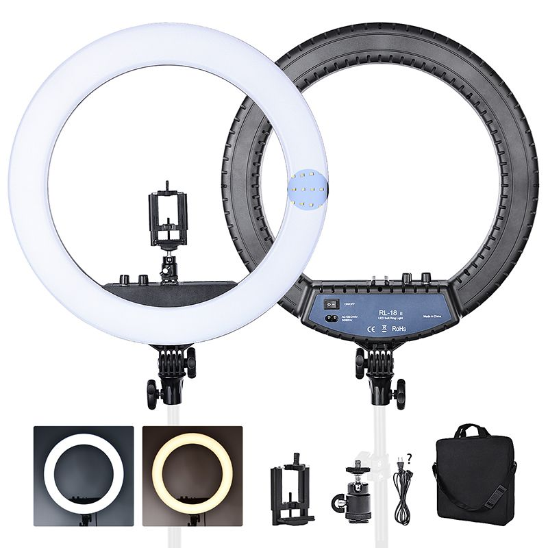 FOSOTO RL-18II Ring lamp 3200-5600K 55W 512 Leds Dimmable Photography light Makeup led Ring Light For Camera Photo Studio Phone
