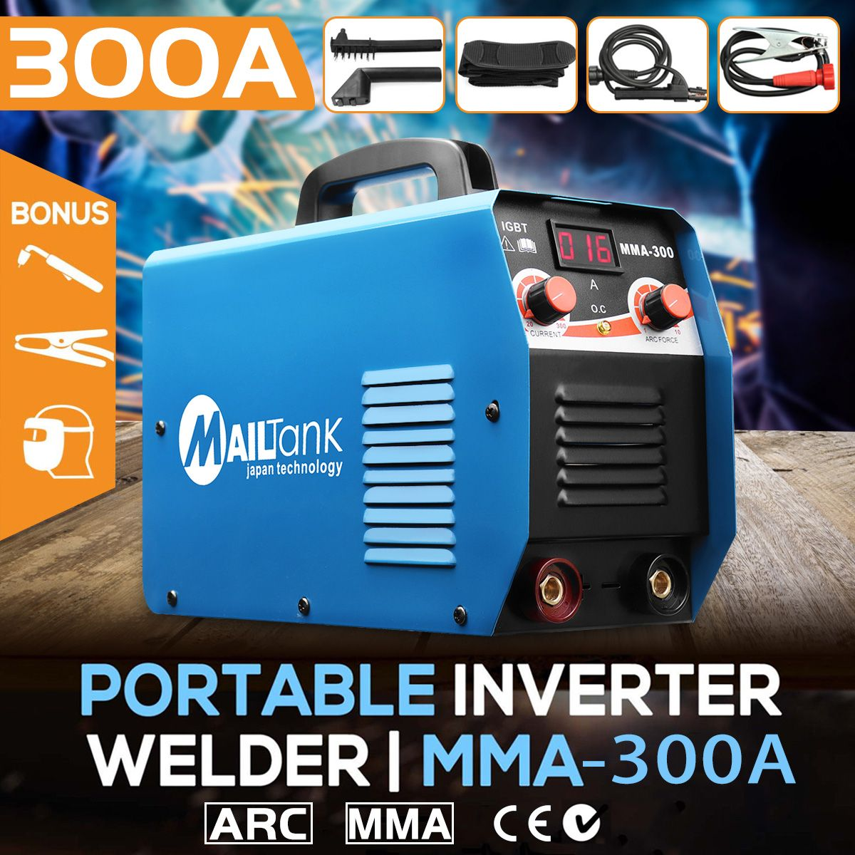 Portable MMA-300G Mini Welding DC Welding Machine 220V 25A-300A Semi-Automatic Inverter LCD Soldering Tool Welding Working