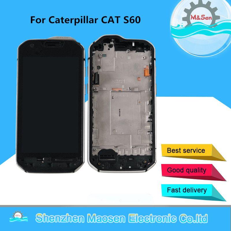 Original M & Sen Für Caterpillar CAT S60 LCD Screen Display Für Caterpillar CAT S60 Touch Glas Panel Digitizier Bildschirm mit Rahmen
