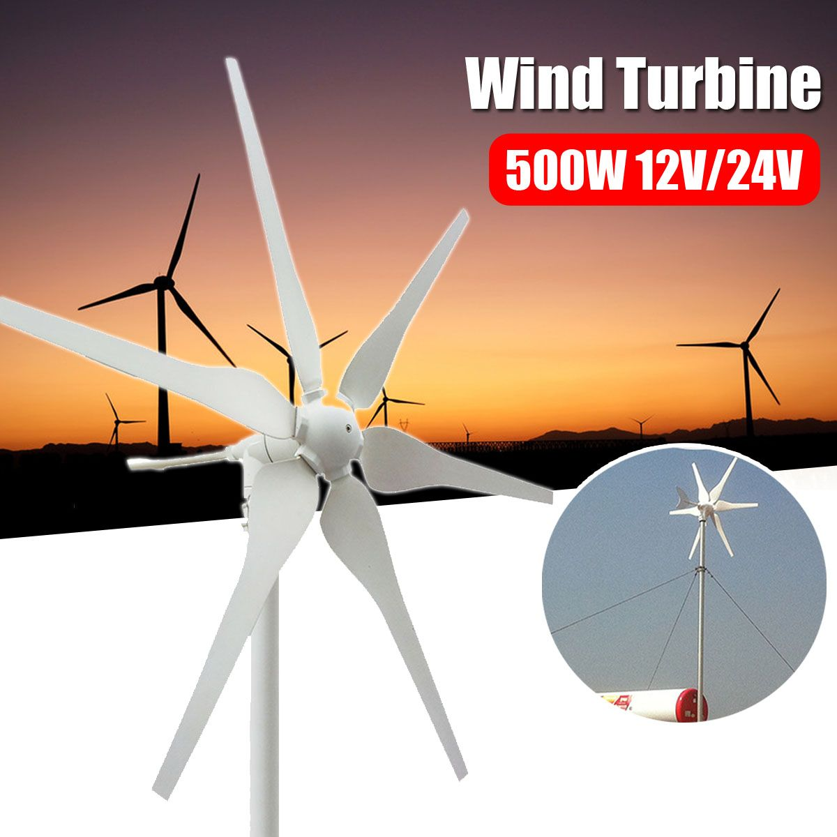 500W 12V/24V Environmental 6 Blades Mini Wind Turbines Energy Generator Miniature Wind Turbines Residential Home With Controller