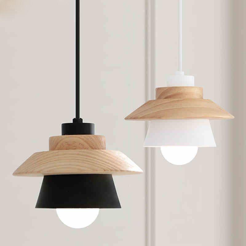 Luminaires suspendus décor nordique Suspension Luminaire, E27 aluminium bois Suspension luminaires modernes noir blanc