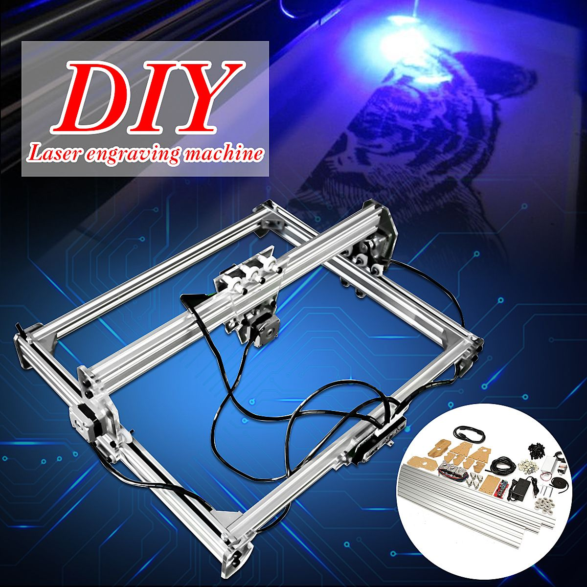 50*65 cm Mini 3000 MW bleu CNC Machine de gravure Laser 2 axes DC 12 V bricolage graveur bureau bois routeur/Cutter/imprimante + lunettes Laser