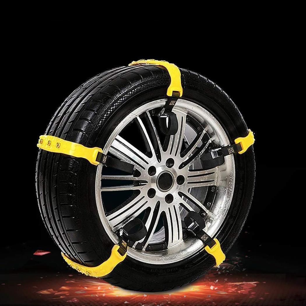 5 Pcs/Set Portable Thicken Anti-slip Car Tire Outdoor, Snow Chain Bag Outdoor Snowy Day Yellow