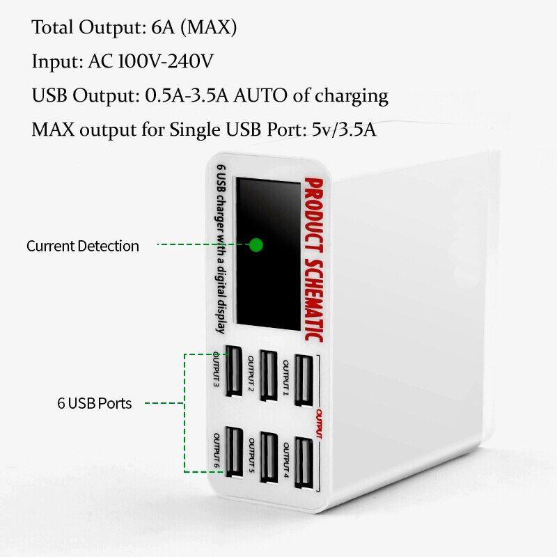 6A with LCD Digital Display 6 Port USB Charger Fast Quick Charge Smart Charging Station Adapter for Smart Phone Tablet PC
